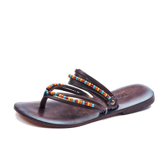 flip Womens flops Leather Flip Flops Sandals flip Sandals brown Summer Handmade Comfortable flops XaqXr4v0w