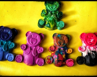 Hand Poured Teddy Bear Crayons
