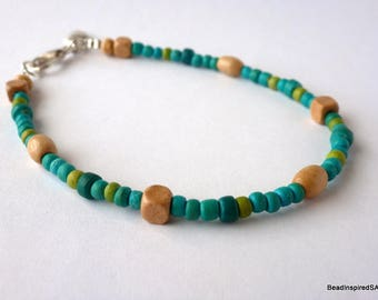 Beaded Anklet, Ankle Bracelet, Turquoise Anklet, Wood Bead Anklet, Beach Anklet, Summer Jewellery, Ankle Jewellery, Gift for her