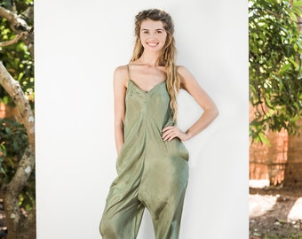 SALE LOW JUMPSUIT / SS17 / 100% Silk / Ethical Sustainable Fashion / Luxury Garment / Resort / Made in India