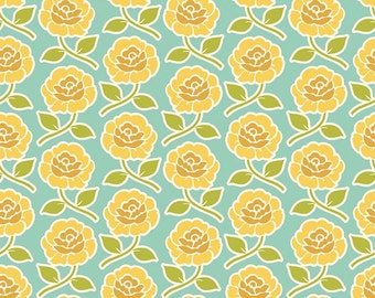 "Yellow Rose Trellis on Teal Fabric from Riley Blake - ""Farm Girl"" by October Afternoon. 100% cotton - C5022 Teal - Select Your Length"