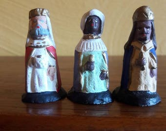 Set of Wise Men - Hand Crafted Clay Pottery Nativity - VG Condition - One of a kind set!