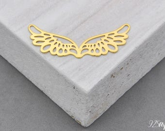 925 Sterling Silver wings gold plated, wings pendant, wings charms, silver wings, wing, angel wings, angel, Guardian angel