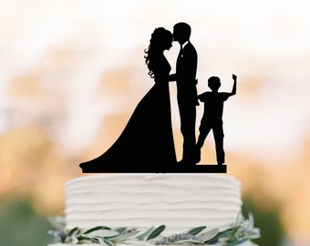 Wedding Cake topper with boy, bride and groom silhouette , funny wedding cake toppers with child