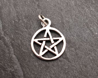 Sterling Silver Pentagram Pendant, Charm