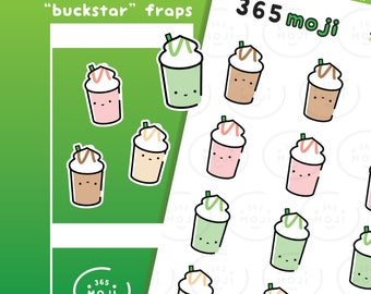 Iced Coffee Planner Stickers, Starbucks Frap, Tea Stickers, Food Stickers, Cute Stickers | R118