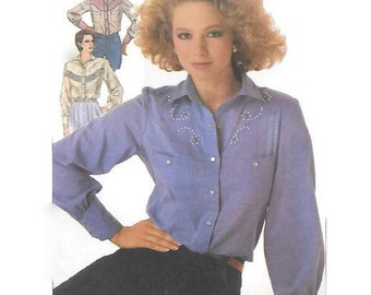 Misses Western Shirt Sewing Pattern, Simplicity 7231, Size 10-12-14 Bust 31.5-34-36, Long Sleeves, Yoke with Fringe or Pearls, 1980s UNCUT