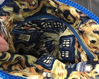 Exploding Tardis Crocheted Cable Handbag.