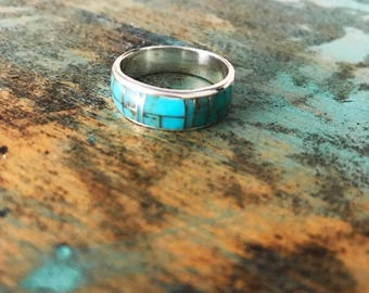 Men's Turquoise Stone Indian Band Ring