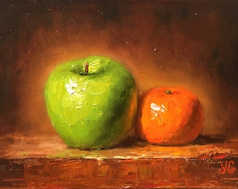 Original Oil painting of Green apple and orange. Fruit Still life. Home decor. Small oil painting. Impasto painting. Free Shipping in US