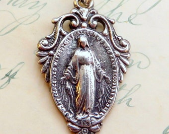 Miraculous Medal / Virgin Mary Medal - Sterling Silver Antique Replica