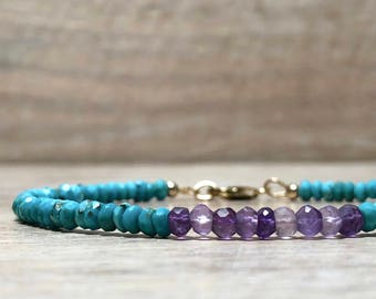Amethyst Bracelet Sleeping Beauty Turquoise beaded bracelet, February Birthstone, December Birthstone, Mens Gemstone Bracelet, Gift for her