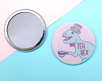 Tea rex mirror Dinosaur mirror T rex Dinosaur gift Pocket mirror Compact Handbag mirror Stocking stuffer Make up Funny gift Cute mirror