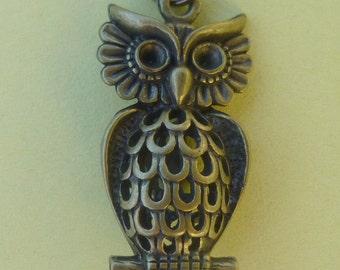 Brass 3D Owl Pendant  N007