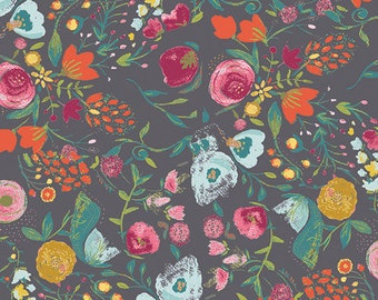 Art Gallery Fabric, BUDQUETTE NIGHTFALL,  EMG-5607, Emmy Grace collection, Bari J, Floral Fabric, Quilt, Grey, Gray, Fabric By the Yard