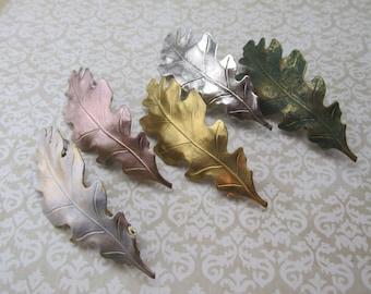 Oak leaf Hair barrettes Bridal hair barrettes leaf barrette rose gold barrette