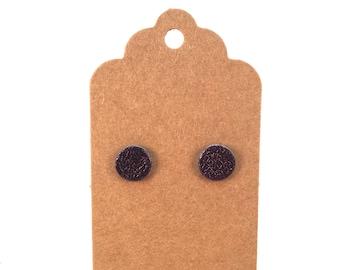 Dark Brown Leather Stud Earrings, Stud Earrings, Post Earrings, Studs, Minimalist Earrings, Gift for Her
