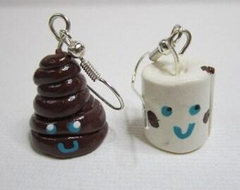 Poo and Toilet Paper Earrings