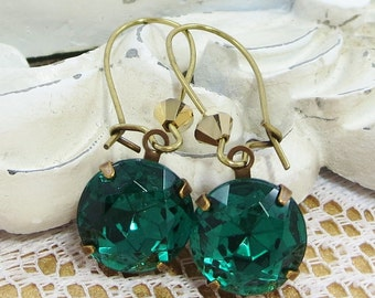 Emerald Green Earrings Dangles Estate Style Victorian Downton Abbey Jewelry Gift May Birthstone