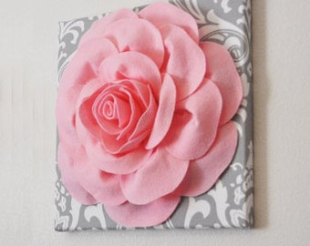 "Wall Art - Light Pink Rose on Gray and White Damask 12 x12"" Canvas Baby Wall Art  Nursery Wall Decor"