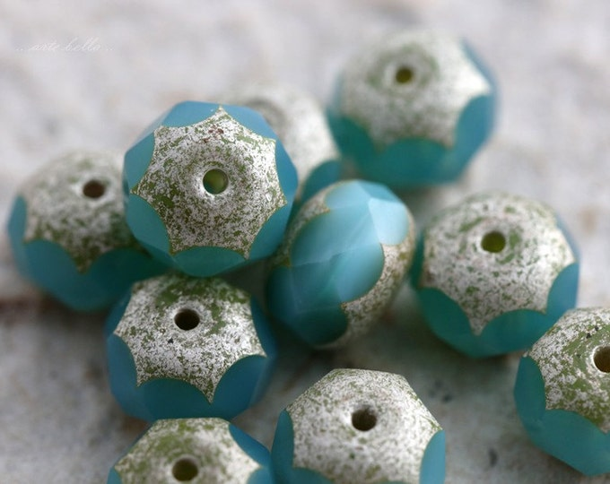 BLUE DEW No. 2 .. 10 Premium Czech Picasso Rondelle Glass Beads 6x9mm (5600-10)