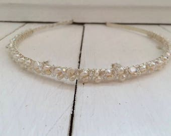 Ivory freshwater pearl and sparkle hairband