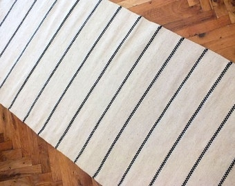 White hand woven wool rug - made to order - stylish white rug with black stripes - handwoven wool rug to decorate your home