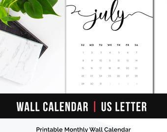 2017 Calendar Minimalist Letter • Calendar Calligraphy 2017 Wall Calendar Handlettering Printable Calendar 2017 Monthly Calendar Printable