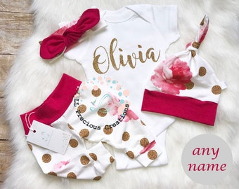 Baby Girl Coming Home Outfit Baby Girl Monogrammed Bodysuit Personalized Baby Outfit Baby Bloomers  Shorts Pink Floral Girl Outfit Glitter