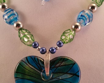 Green and Blue Glass Heart Pendant with Swirled Glass Beaded Necklace and Earring Set