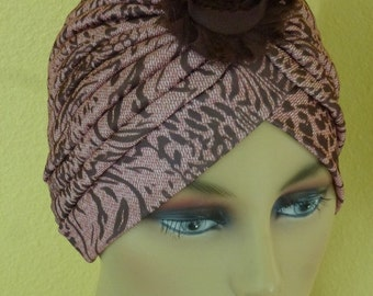 Chemo Brown tones Print Turban with Black Decorative Flower, Alopecia Print Turban with Decorative Pin