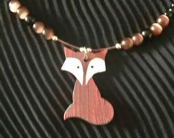Bohemian Fox Necklace / Festival Fox Necklace  / Brown and Black Fox Necklace / Tigers Eye Fox Pendant Necklace