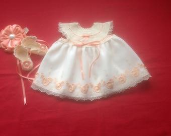 Newborn Baby Girl Dress Set - Cream & Orange