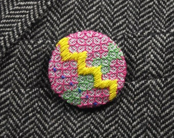Pink Yellow Embroidered Badge