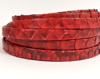 10mm Genuine Python Skin - Red - Choose Your Length