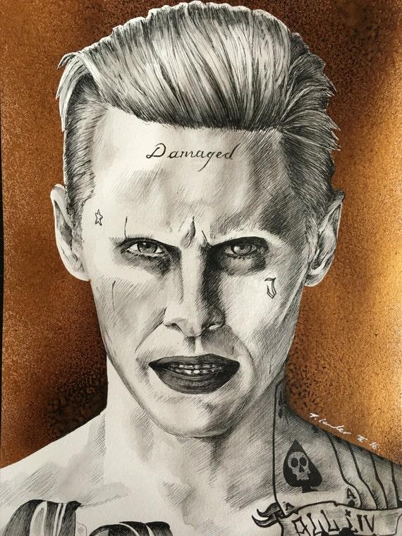 Suicide Squad Joker Original Pen Drawing / Painting .Fan-ART