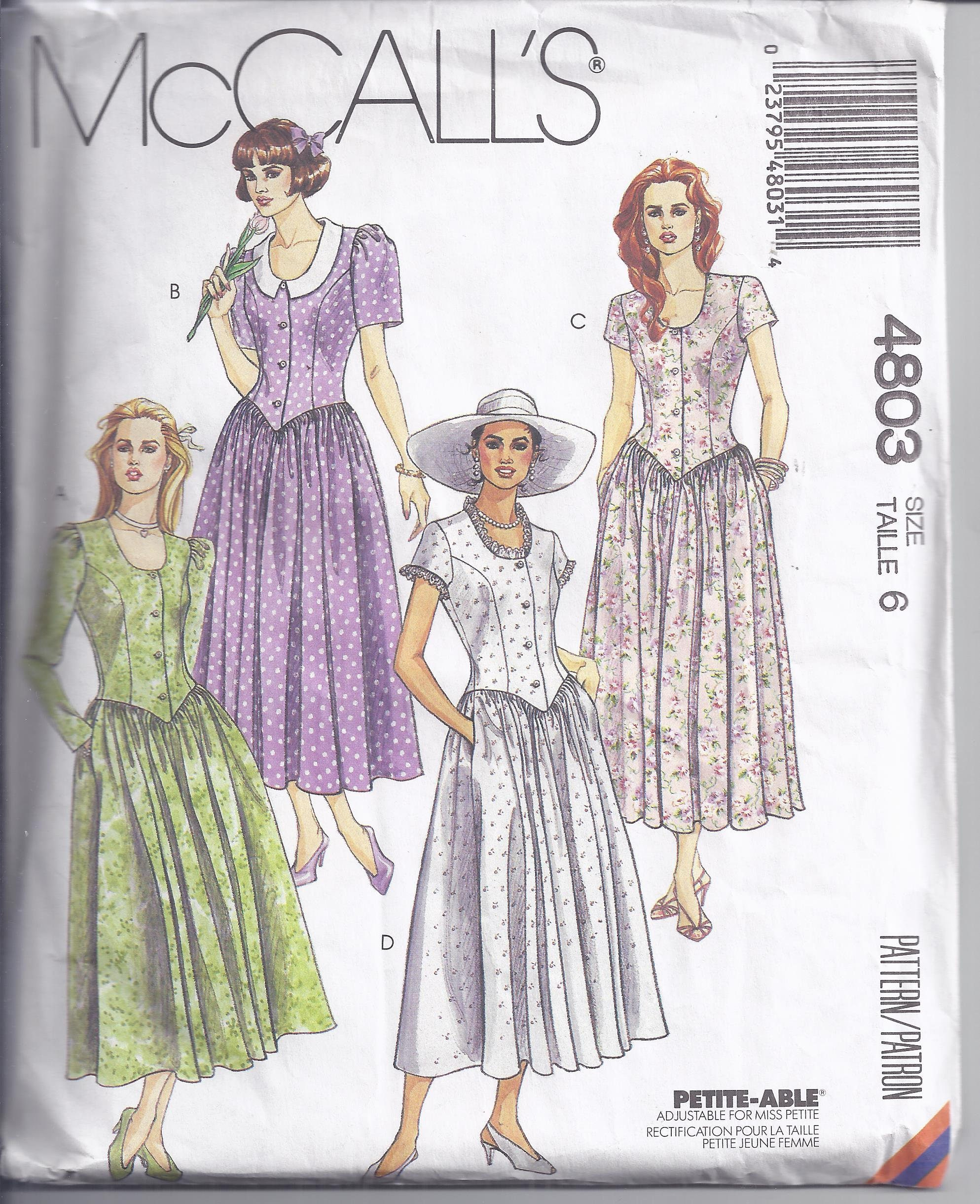 McCalls Sewing Pattern 4803 from 1990 Misses Dress with