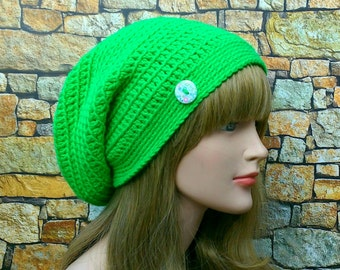 Electric Green Slouchy Beanie, Womens Crochet Hat, Slouchy Hat with Button, Oversized Slouch Beanie, Hipster Hat, Baggy Beanie