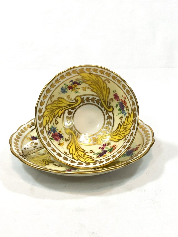 Star Paragon Tea Cup Saucer, Cream Yellow, Hand Painted Flowers Yellow Leaves, Heavily Gilded Foliate Motif, 1920s Antique English Teacup