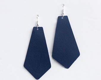 Blue Leather Earrings, Blue Leather pendant, Genuine Leather, Leather PENDANT earrings, Trendy Earrings, Lightweight Earrings- INDIGO BLUE
