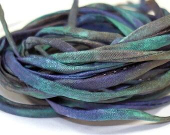 """5PC. CREME DE MINT 2MM Hand Dyed Silk Jewelry Cord//5PC. Hand Dyed Silk Cording 1/8"""" X 36""""//Hand Dyed Silk Jewelry Bracelet/Necklace Cording"""