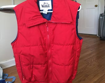 Vintage Woolrich Red Down Vest Medium 70s 80s