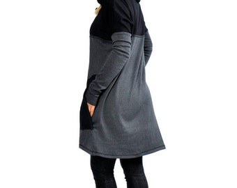 Gray Casual loose Cotton dress/Hooded long sleeves tunic/Black oversize cotton maxi dress/Hooded Dress Tunic Top/Plus size dress/T1261