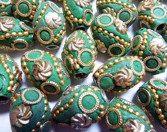6 Kashmiri Beads, Green Bollywood Beads, Large Hole Handmade Resin Beads from India, Artisan Beads