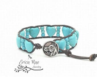 Turquoise leather wrap bracelet, beaded wrap bracelet, gemstone leather wrap bracelet, turquoise bracelet, western bracelet, horse jewelry