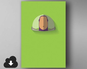 Buzz Lightyear Inspired. Minimalistic. Toy Story. Movie Poster. Downloadable Wall Art.
