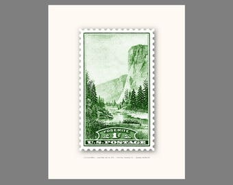 Yosemite Stamp - Art Print