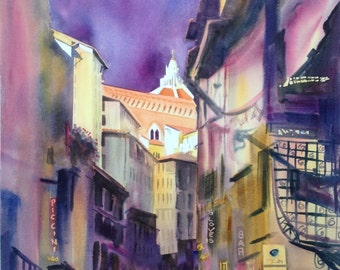Sunlit Duomo Original Watercolor Florence Italy Large Painting Italian Cathedral Violet Yellow Florence Catholic Cathedral Painting City Art