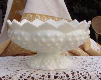 Vintage White Milk Glass Hobnail Pedestal 6 Candle Holder Centerpiece