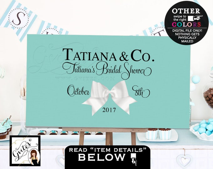 Breakfast at Backdrops, Blue Bride and Co bridal shower welcome poster sign backdrops banners poster signs, white bow decorations, PRINTABLE